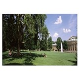 Tourists in a city park, Staatstheater Stuttgart,