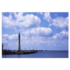 Lighthouse at a harbor, Buffalo Harbor North And S