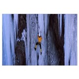 Rear view of a person ice climbing, Colorado