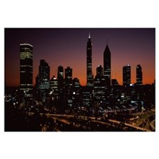Buildings lit up at dawn, Perth, Western Australia