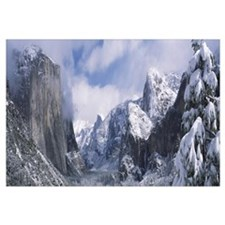 Mountains and waterfall in snow, Tunnel View, El C
