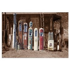 Abandoned fuel pumps in a row at a museum Gasoline