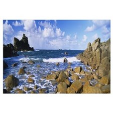 Rocks in the sea Armed Knight Lands End Cornwall E