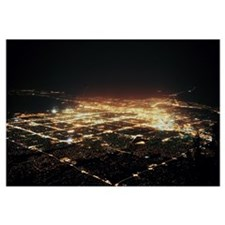 Aerial view of buildings at night in a city Albuqu