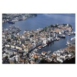 Aerial view of a city Bergen Hordaland County Norw
