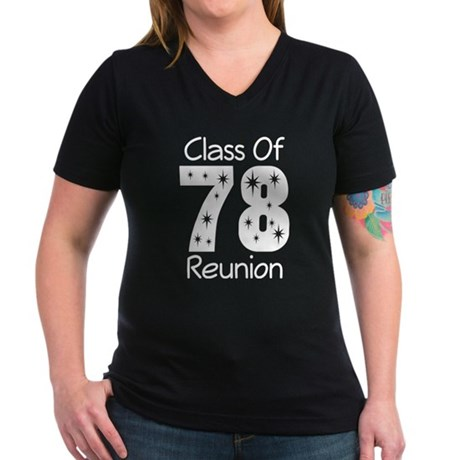 Class Of 1978 Reunion Women's V-Neck Dark T-Shirt