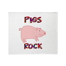 Pigs Rock Throw Blanket