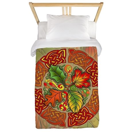 Celtic Autumn Leaves Twin Duvet Cover