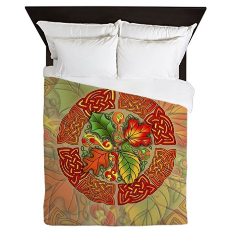 Celtic Autumn Leaves Queen Duvet Cover