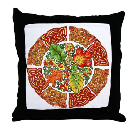 Celtic Autumn Leaves Throw Pillow