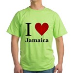 I Love Jamaica Green T-Shirt