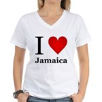 I Love Jamaica Women's V-Neck T-Shirt