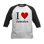 I Love Jamaica Kids Baseball Jersey