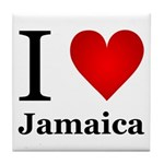 I Love Jamaica Tile Coaster