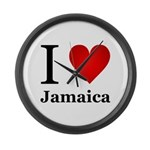 I Love Jamaica Large Wall Clock