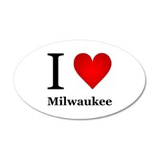 I Love Milwaukee 38.5 x 24.5 Oval Wall Peel