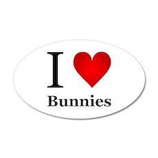 I Love Bunnies 22x14 Oval Wall Peel