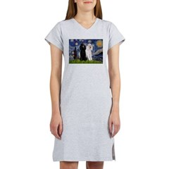 Starry Night / 2 Poodles(b&w) Women's Nightshirt