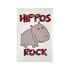 Hippos Rock Rectangle Magnet