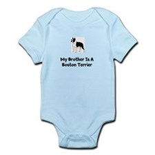 "Boston Terrier Infant Body Suit ""My Brother&q"