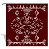 Burgundy and White Tribal Shower Curtain