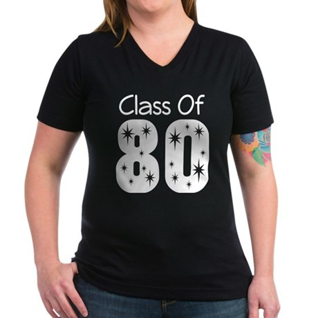 Class of 1980 Women's V-Neck Dark T-Shirt
