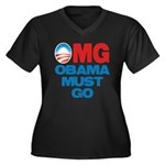 OMG: Obama Must Go Women's Plus Size V-Neck Dark T