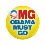 """OMG: Obama Must Go 3.5"""" Button"""