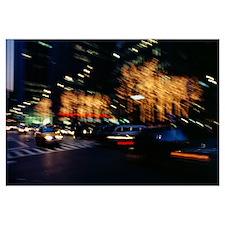 Traffic on the street at night, Sixth Avenue, Manh