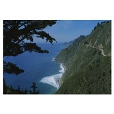 Highway on a hillside, Route 1, Big Sur, Californi