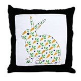 Carrot Calico Rabbit Throw Pillow