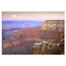 Full moon over the Grand Canyon at sunset as seen