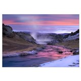 Hot Creek at sunset, natural hot spring in Mammoth