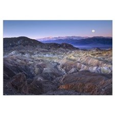 Full moon rising over Zabriskie Point, Death Valle