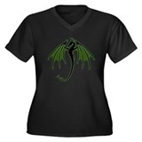 Green Dragon Women's Plus Size V-Neck Dark T-Shirt