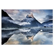 Mitre Peak reflecting in Milford Sound, Fiordland