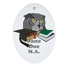 Custom Owl Graduate Ornament (Oval)