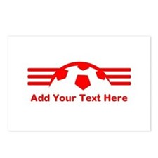 Red Soccer Design. With Text. Postcards (Package o