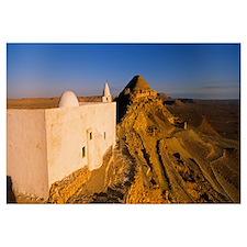 Mosque on a hillside, Guermessa, Tataouine, Tunisi