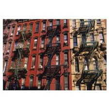 Low angle view of fire escapes on buildings, Littl