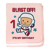 Blast Off 1st Birthday baby blanket