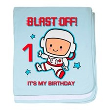 Blast Off 1st Birthday baby blanket