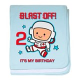 Blast Off 2nd Birthday baby blanket