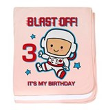 Blast Off 3rd Birthday baby blanket