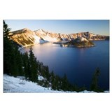 Dusting of snow over Crater Lake and Wizard Island