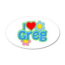 I Heart Greg 38.5 x 24.5 Oval Wall Peel