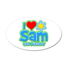 I Heart Sam the Butcher 38.5 x 24.5 Oval Wall Peel