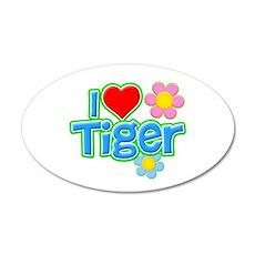 I Heart Tiger 38.5 x 24.5 Oval Wall Peel