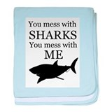 Don't Mess with Sharks baby blanket