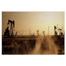 Oil drills in a field, Maricopa, Kern County, Cali